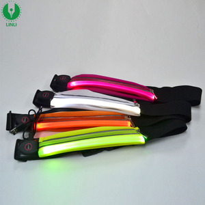 Night Running Waterproof High Visibility Led Waist Belt Bag, Light Up Waist Bag, Flashing Waist Belt