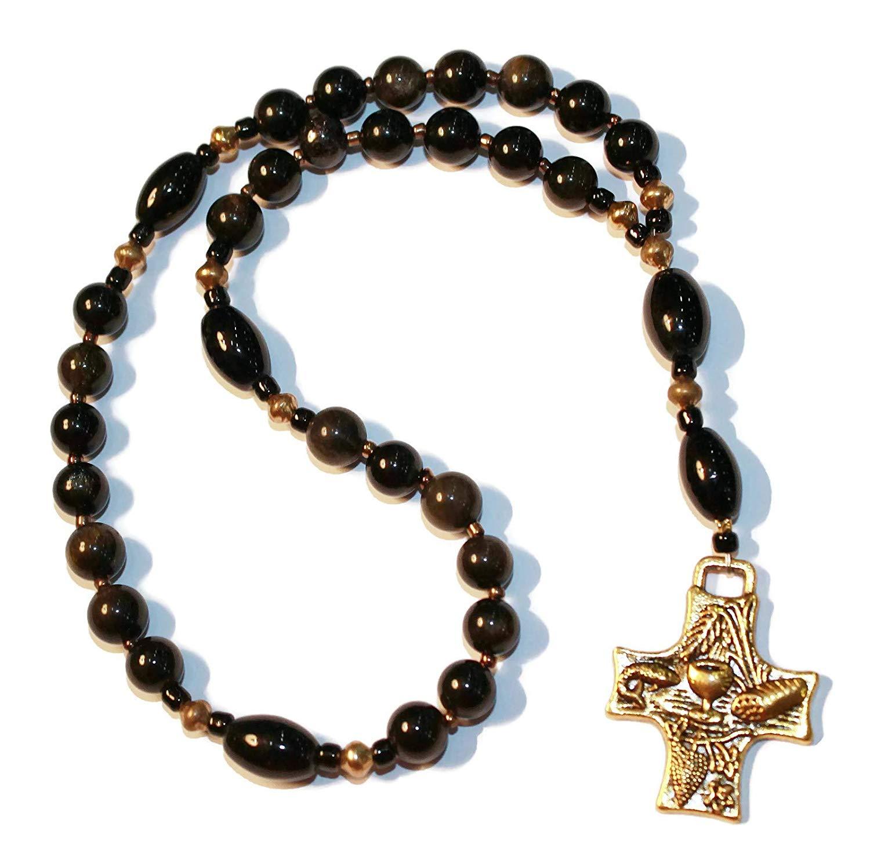 Anglican Rosary of Obsidan, Gold-Tone Eucharist Cross