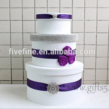 Elegant Wedding Card Money Box With Purple Ribbon And Silk Flower Buy Wedding Card Box Wedding Money Box Wedding Gift Card Box Product On