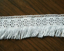 Fashion Africa white polyester / cotton film embroidery clothing lace trimming