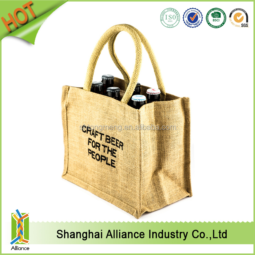 2016 NEW Wine Tote Eco-friendly Bottle Jute Bag Fabric Wine Bag