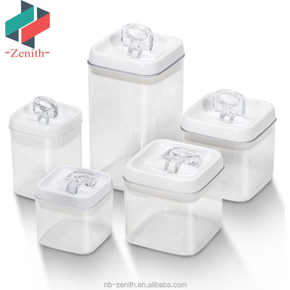 Znk00030 Stackabke 5 Pcs Set Plastic Square Air Tight Kitchen Food Storage Containers With Easy Snap Vacuum Sealing Lock Lids Buy Air Tight Kitchen Storage Container Stackable Food Container Set Square Air Tight