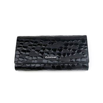 Black genuine leather wallet and full grain leather purses for women