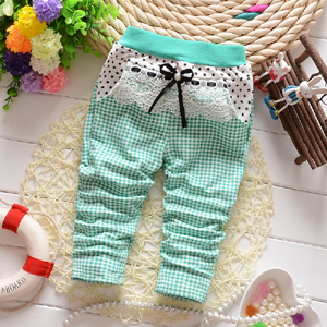 2016 Spring new Korean Infant girl covered with fine lattice Star Knitting baby trousers pants B113