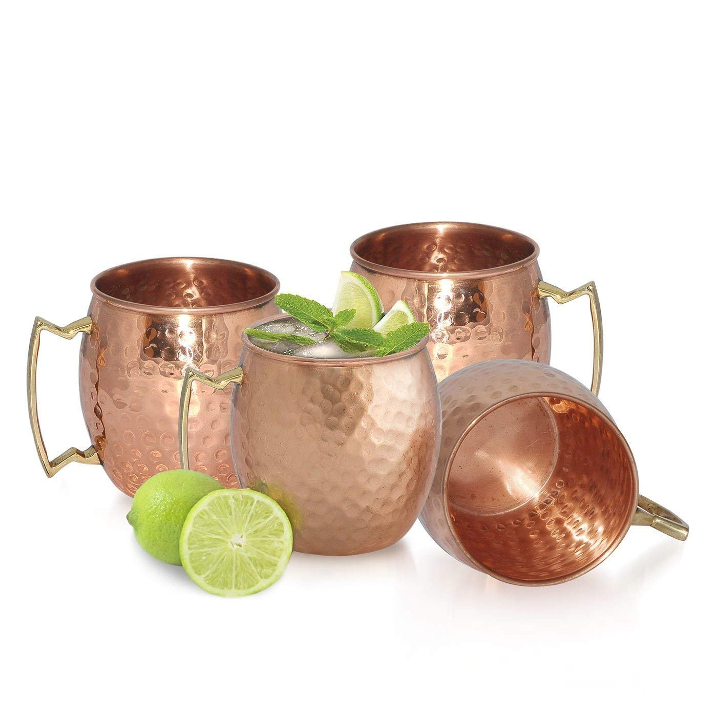 Set of 2 Prisha 100/% Pure Copper Mugs for Cocktails//Handmade Leak Proof Copper Vessel with Lacquered Finish for Drinking Water// Joint Free Moscow Mules with Ayurvedic Health Benefits 18 Ounce
