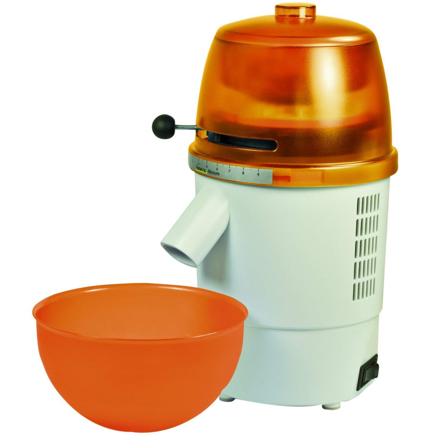 Hawos Novum Grain Mill with Funnel and Bowl Color: Orange 220-240 Volt
