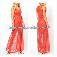 Women Sheer lace overlay and slip lining beautiful casual maxi dress(YLQ03103)