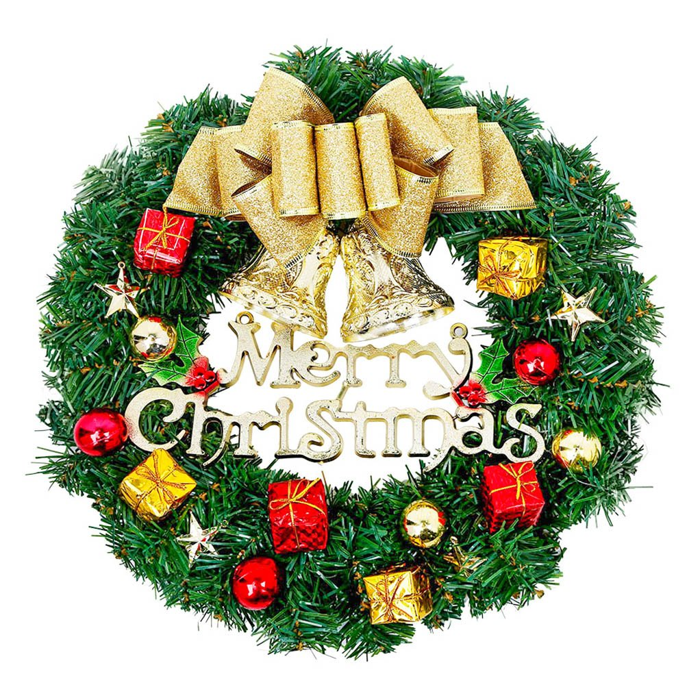 Christmas Wreath Xmas Wall Decorations 30 Cm Door Hang Garland Outdoor Party Decoration Bowknot Decorative Wreath Gold