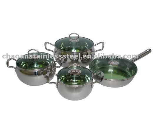 8 pcs green glass lid stainless steel cookware set-TGAPPLEGES8