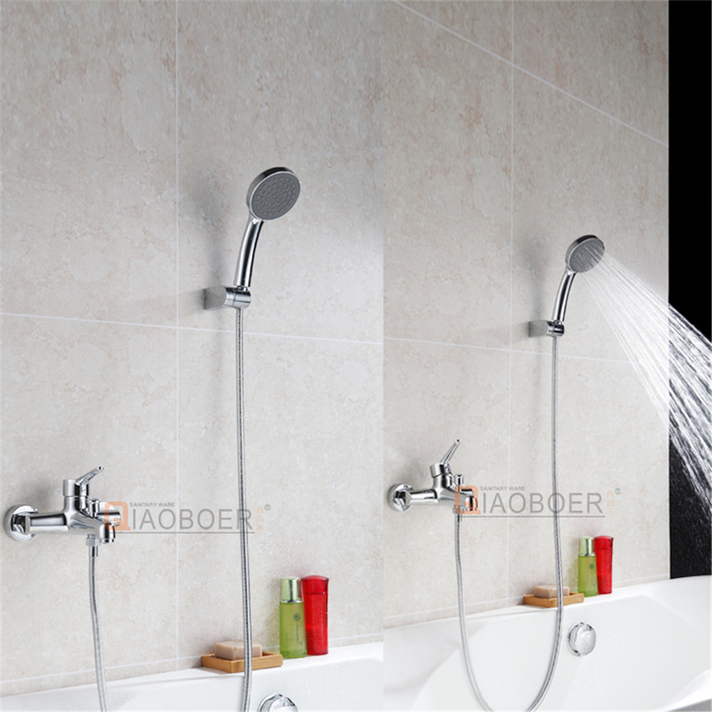 Contemporary chrome brass wall in faucet, bath faucet filter, tub shower mixer
