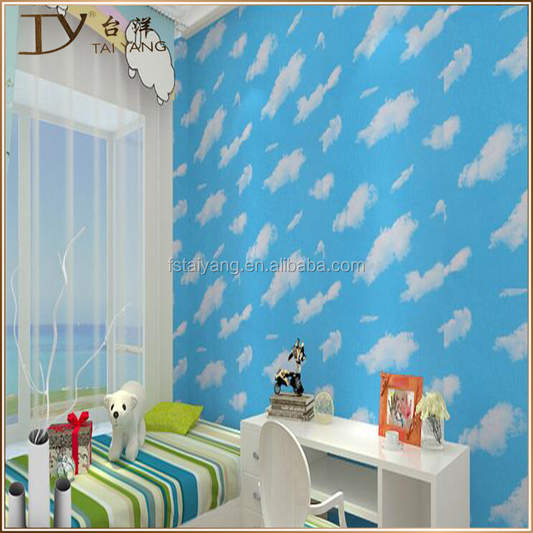 D3401 3d Bule Sky Kids Room Wallpaper For Bedroom And Ceiling Wall