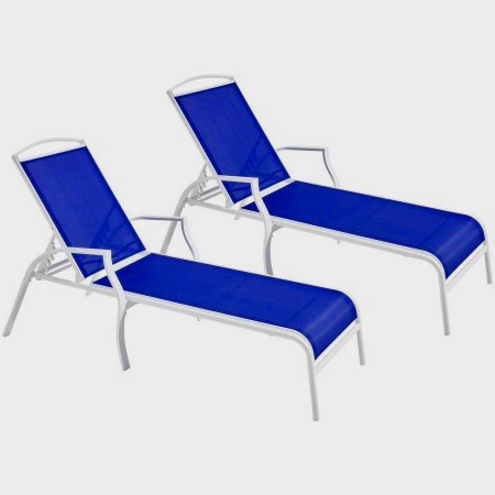 EFD Patio Chaise Lounger Set of 2 Seats White Steel Frame and Blue Polyester Fabric for Outdoor Use Garden Backyard Poolside Balcony Patio Weather Resistant Adjustable Back & eBook by Easy&FunDeals