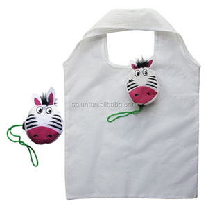 CLIP ECO FRIENDLY REUSABLE TOTE ZEBRA SHOPPING BAG white