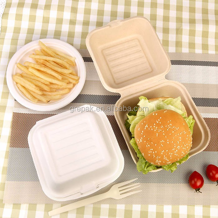 450ml burger box bagasse biodegradable take away food paper box for hamburger with customer's logo and lid