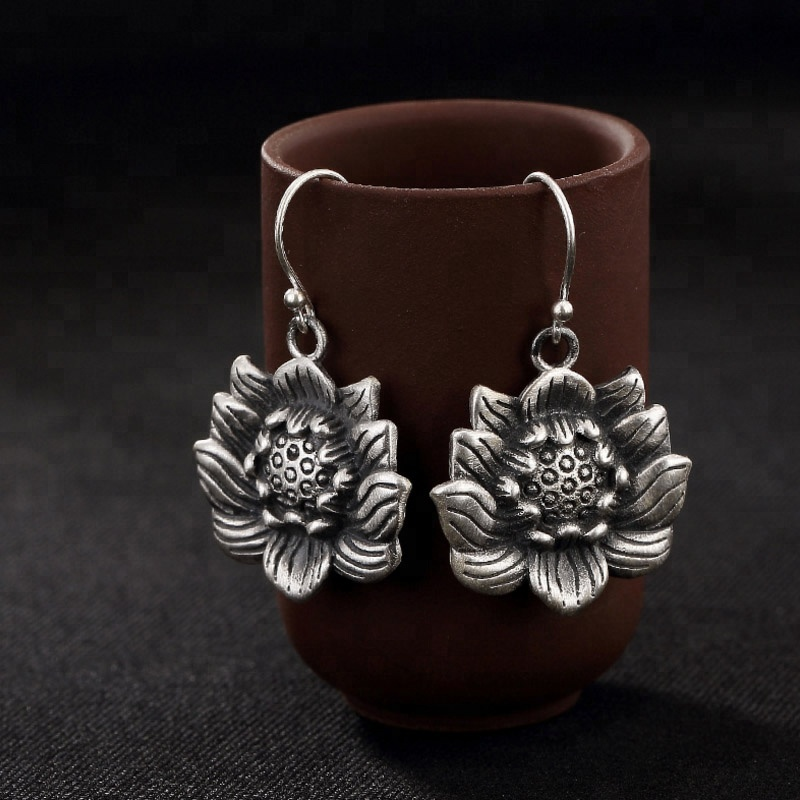 New Design Solid Lotus Flowers Dangle <strong>Earrings</strong> 925 <strong>Sterling</strong> <strong>Silver</strong> Buddhist Retro Fashion Design <strong>Drop</strong> <strong>Earring</strong> For Women