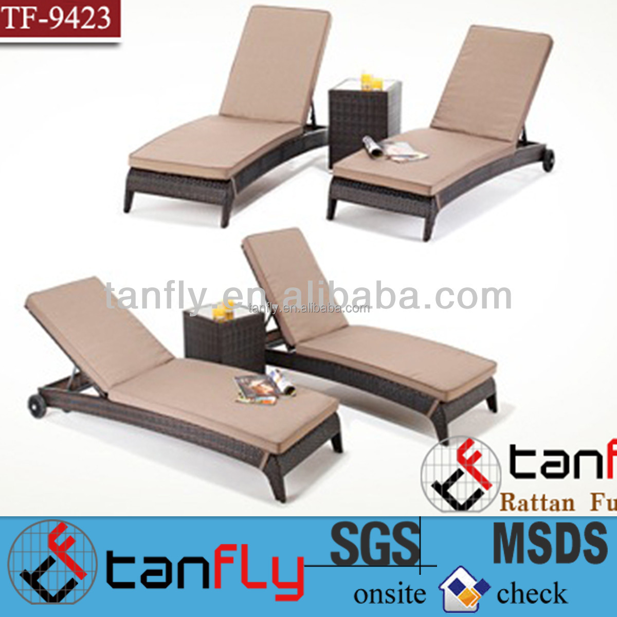 manufacturer wholesales furniture cheap rattan lounger with cushion outdoor furniture