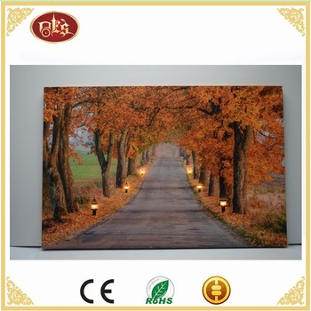 Fall Street scenery Light Up Canvas,Beautiful Led Light Canvas Painting