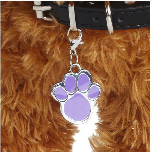 stainless steel stoving varnish dog paws print ID cute tags customized shaped dog paws ID tags factory