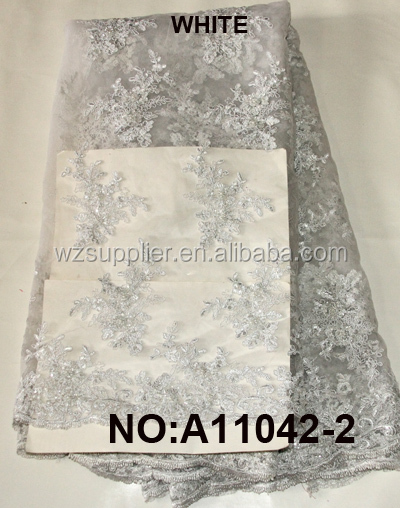 2016 Beaded Embroidery wedding net Lace fabric /3D handwork French tulle