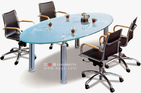 Glass Conference Room Table, Oval Meeting Room Table,small Meeting Table