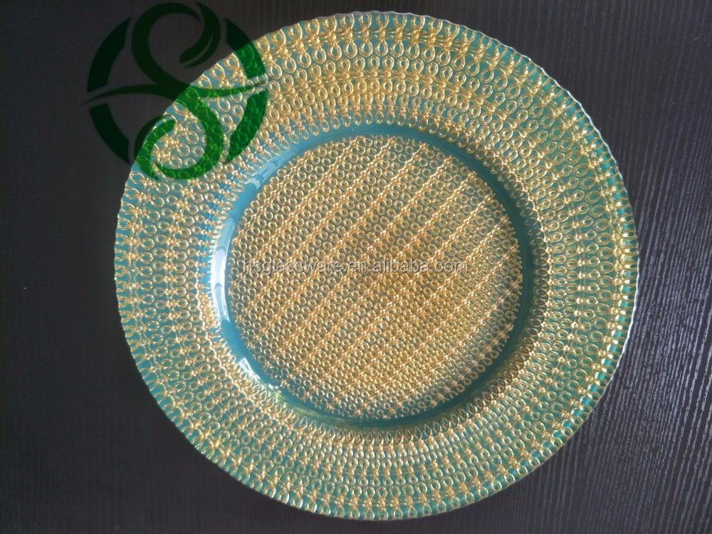 WHOLESALE GLASS CHARGER PLATE BLUE & GOLD ~ GREAT FOR WEDDINGS EVENTS ~ PARTY ~ CHRISTMAS