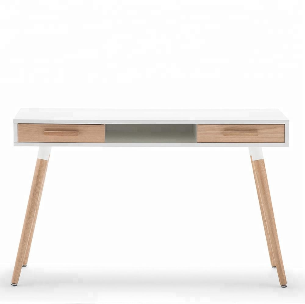 Wholesale home wood cheap work bench table white student computer desk with drawer