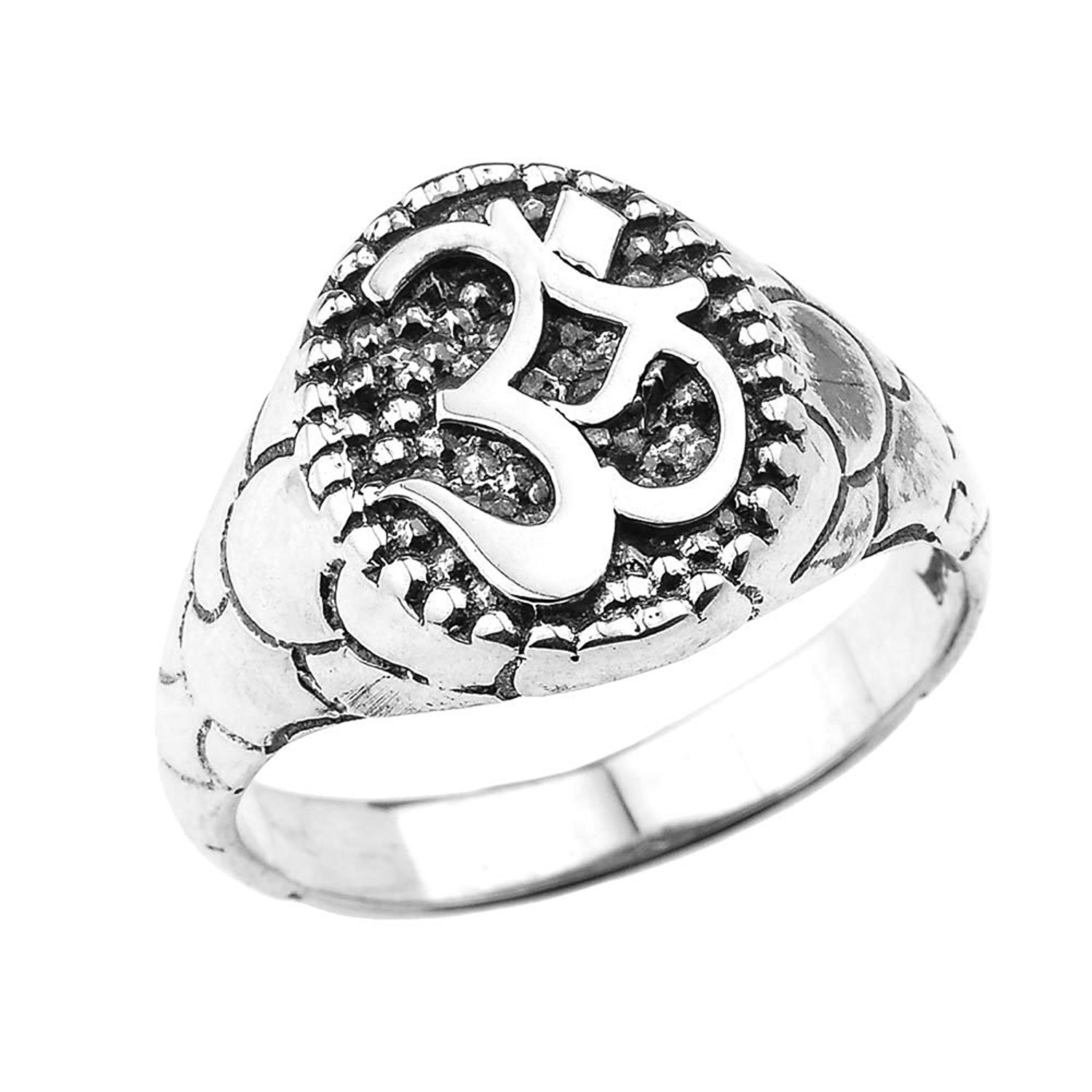 Men's 925 Sterling Silver Hindu Textured Band Oval Om/Ohm Ring