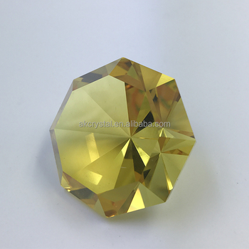 Octagon shape decorative yellow gold crystal glass diamond for sale