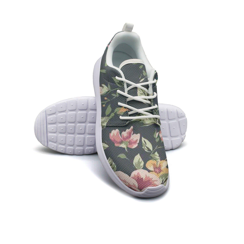 4c336296b5b6 Get Quotations · HJXJESSIE Woman Retro Dark Floral Wallpaper Running Shoes  Jogging Runner Sports Sneakers