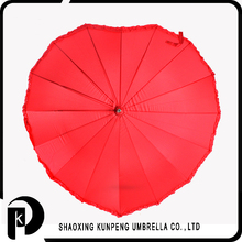 Red colour heart-shaped lady wedding special souvenir gift with elegant style wedding umbrella