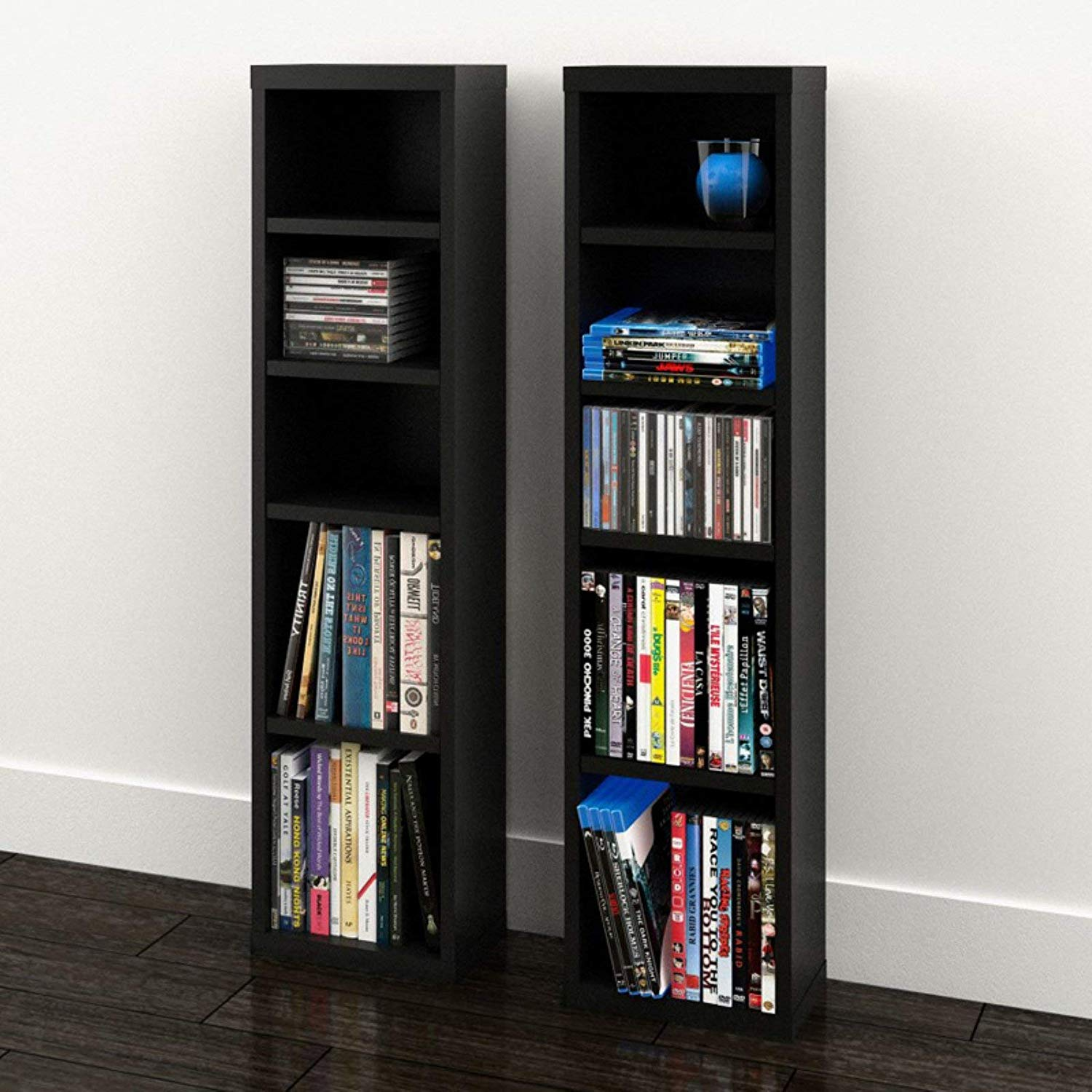 Care 4 Home LLC 4 Shelf Audio Media Storage Tower, Set of 2, Adjustable Legs, Modern Style, Practical, Saves Space, Perfect for Living Room, Family Room, Black Color + Expert Guide