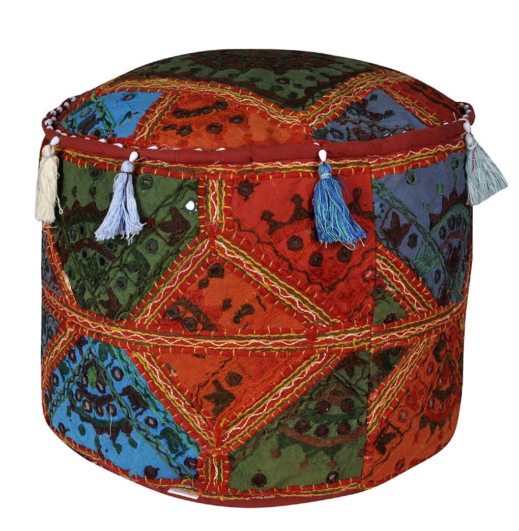 Jaipuri Handmade Decorative Design Cotton Gliding Ottoman Cover 16 X 16 X 12 Inches