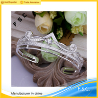 Classic handmade silver plated custom charm jewelry zircon open copper bracelets for girls