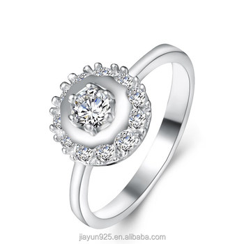 New Arrival Wedding Jewelry 18k White Gold Ring Sterling Silver