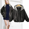 2017 Classic Leather Jacket Women Removable Hooded Faux Zipper Up Leather Jacket