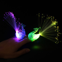 Kids Toys Peacock Finger Ring,Led Finger Light, Fiber Optic Light Party Decoration
