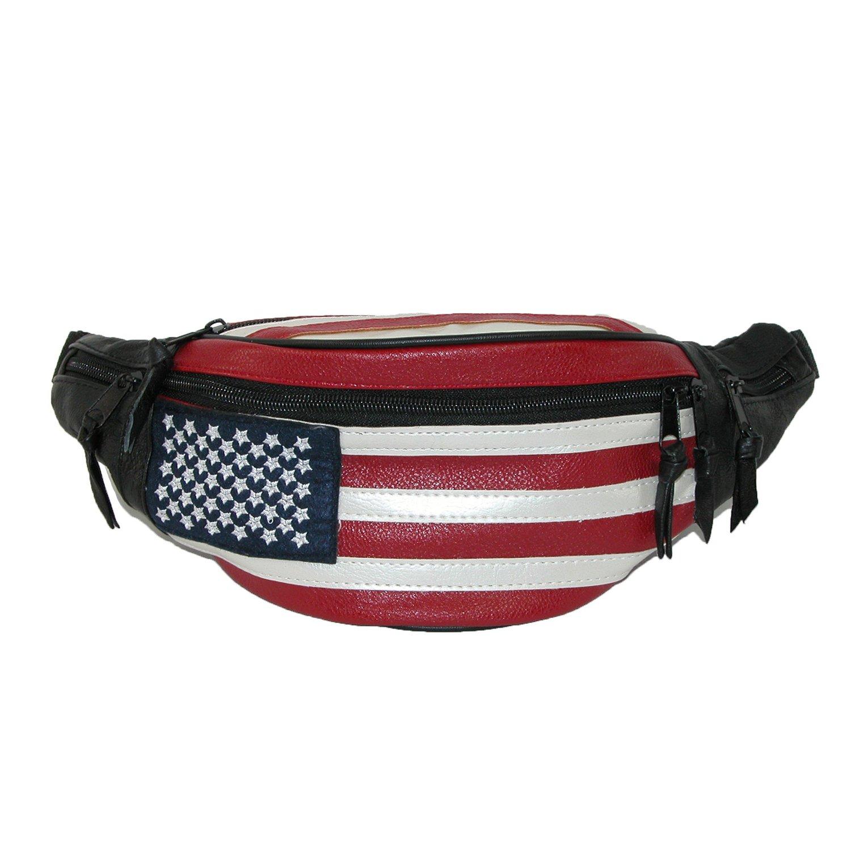 CTM Leather Patriotic American Flag Waist Pack, American Flag