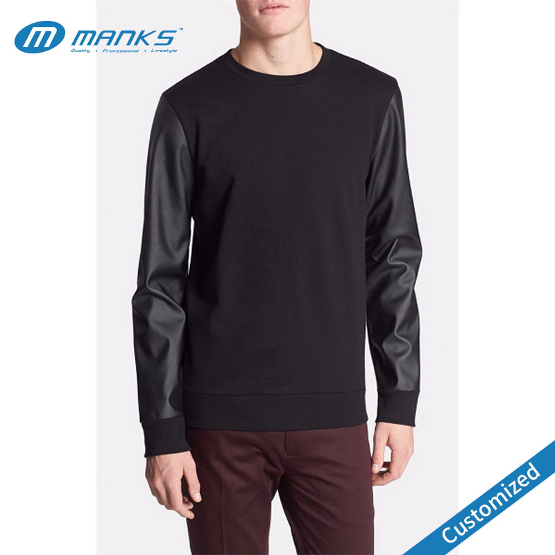Wholesale Crewneck Sweatshirts With Leather Sleeve, Wholesale ...