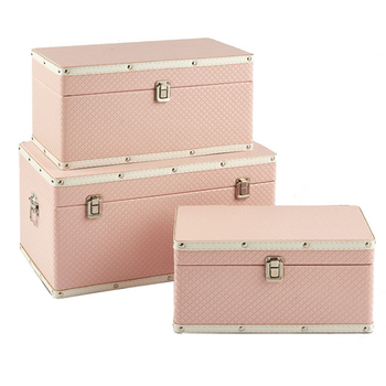 Home decor french vintage pink storage trunk