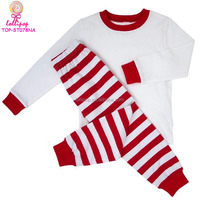 Girls boutique clothing fall Kid Infant Cute Pyjamas Clothes Sets Christmas Toddler Blank long sleeve red stripe pajamas