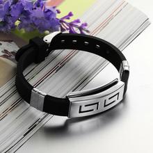 Splendid Punk Rubber Stainless Steel Wristband Clasp Cool Cuff Bangle Men's Black Bracelet