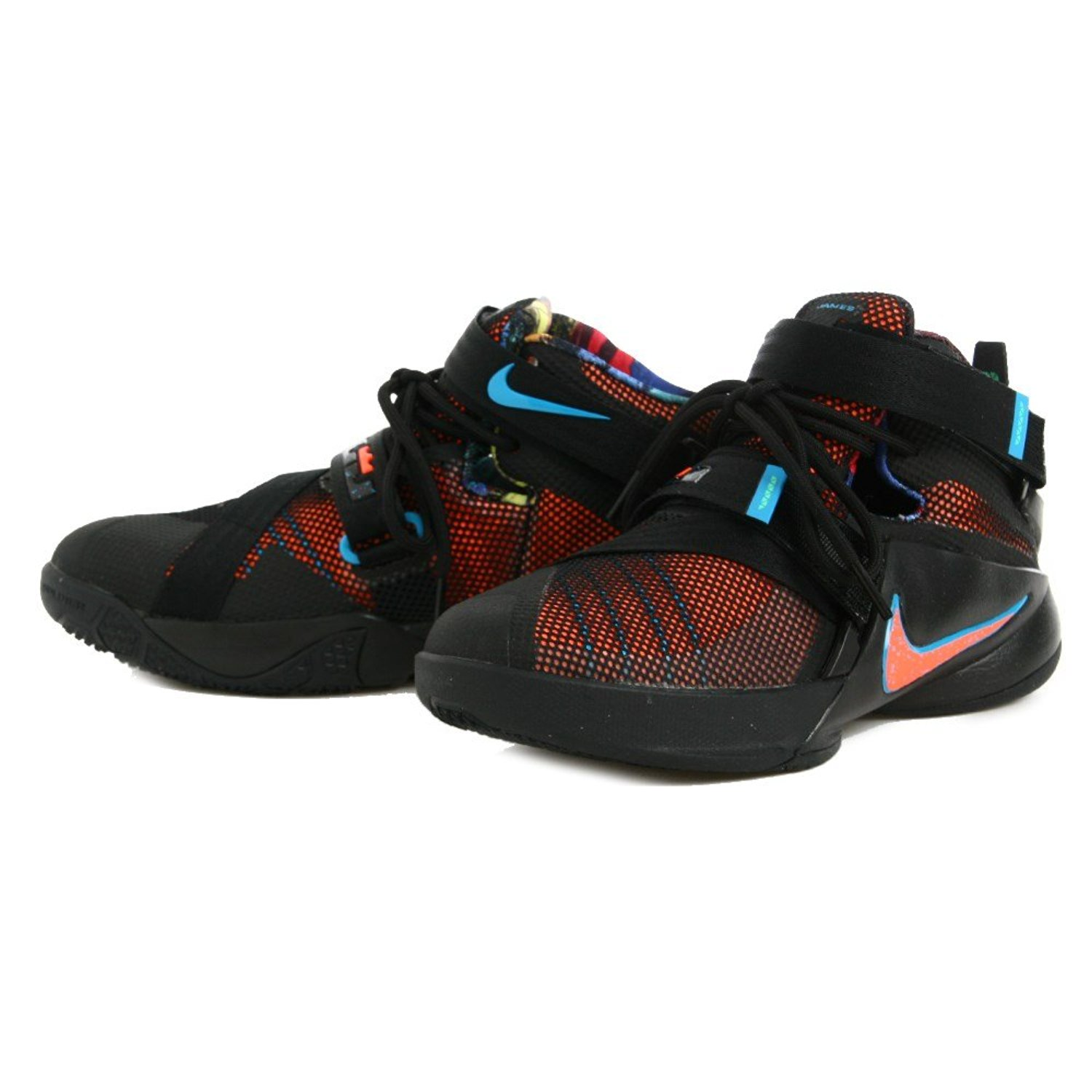 d6ff1e39e5c Get Quotations · Nike Boys LeBron Soldier 9 GS Basketball Shoes Hyper  Orange Blue Lagoon 7Y