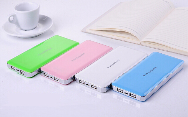 Dual usb charger slim portable mobile charger ABS material laptop powerbank 10000mah with led indicator for smartphone