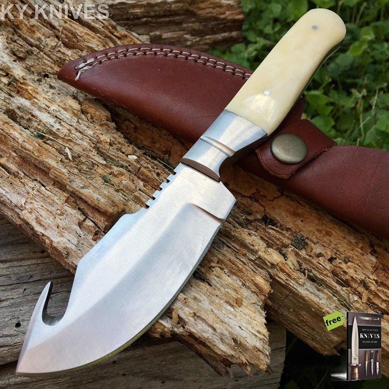 FULL TANG Hunting Knife Real Genuine White Bone Handle GUT HOOK Blade 203342 + Free eBook by SURVIVAL STEEL