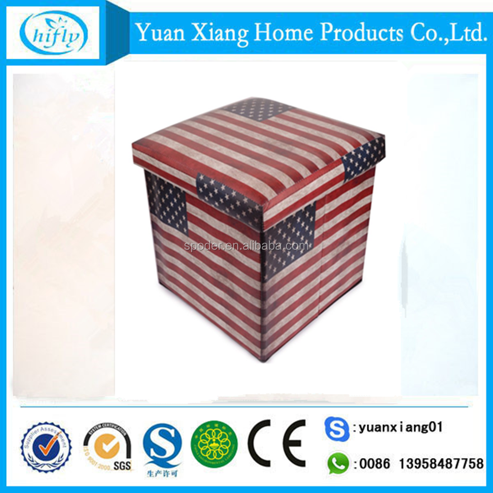 New design strong fabric storage ottoman with flag printing