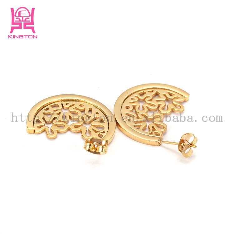 2017 Stainless Steel Jewelry Gold Plated Earrings Womens Ear Studs With Factory Price