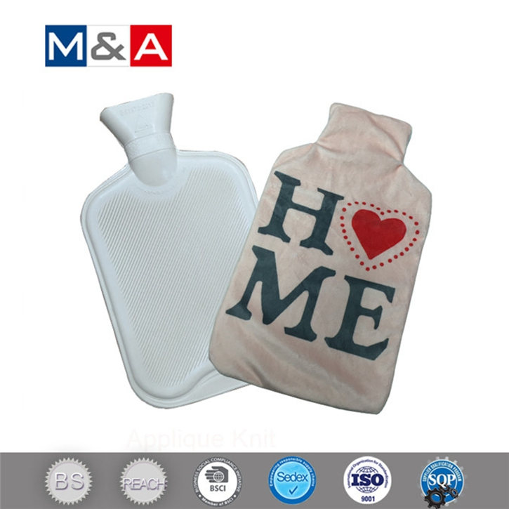 Alphabetic printing beige hot water bag sleeve for hand