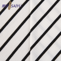 white and black stripe composition poly rayon spandex rib knit fabric