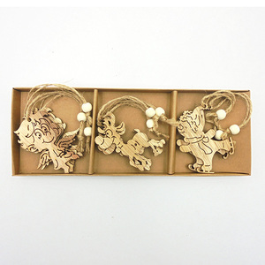 Custom unfinished wooden crafts Christmas decorative wood shapes kit with kraft box