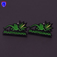 Factory Soft Enamel Custom Lapel Pin Black Plating Lizard Maryguana Zinc Alloy Pin with Butterfly Pin